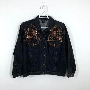 Carole Little Embellished Black Denim Jacket FB01